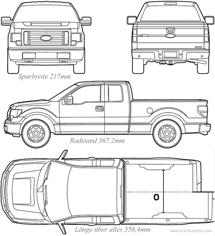 Ford F-150 Blueprint - Quelle: www.the-blueprints.com