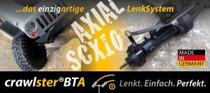 Das crawlster®BTA LenkSystem eröffnet Ihrem AX-SCX-1/10 ein völlig neues Kurvenverhalten – Wendigkeit und Geländegängigkeit werden deutlich optimiert.