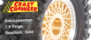 1.9 Kreuzspeichen-Felge, Beadlock, Gold - Optimal für den neuen SCX10 II Jeep® Cherokee