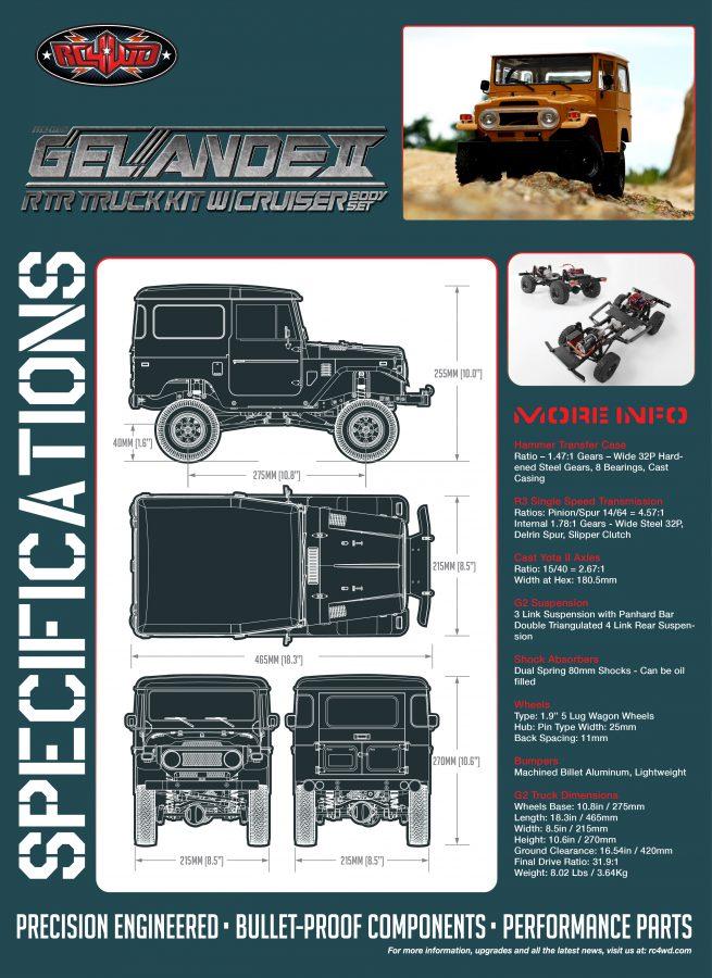 RC4WD Gelande II RTR - Abmessungen